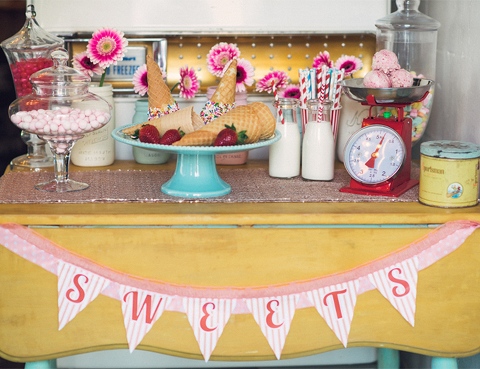Ice cream social themed party decor rental items from Party Mood