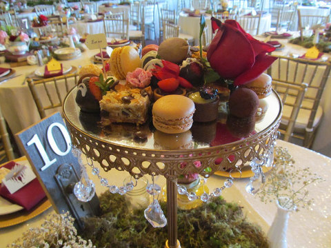 cake stands used for an alice in wonderland themed wedding in victoria bc