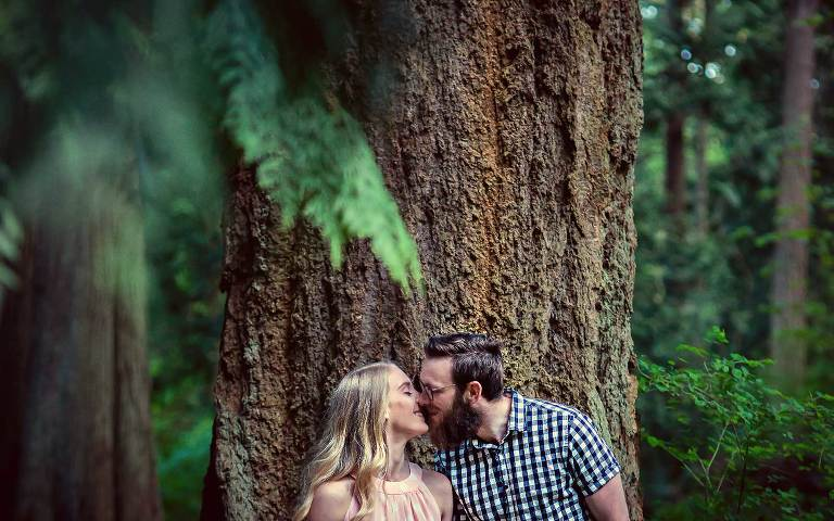 Victoria engagement photo of couple in forest at Mt. Doug by Jen Steele Photo & Film