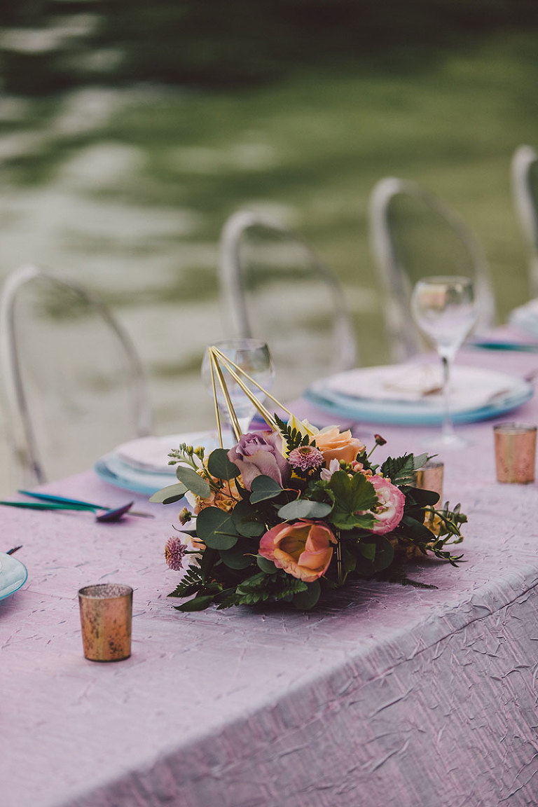 Floral design with geometric elements for a Victoria BC beach wedding designed by Party Mood.