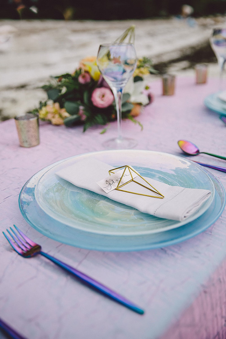Opaline plates and iridescent tableware with calligraphy geometric place settings designed by Victoria BC wedding stylist Party Mood.