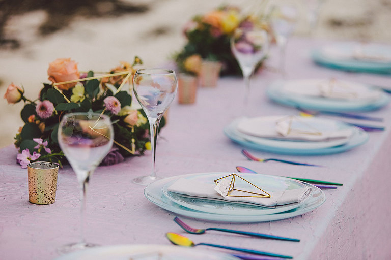 Iridescent colors for a lunar themed celestial wedding design by Victoria BC wedding planner Party Mood