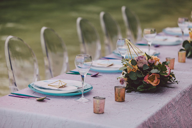 Guest table design for a beachside wedding in Victoria BC with a new-age, celestial theme designed by Party Mood.