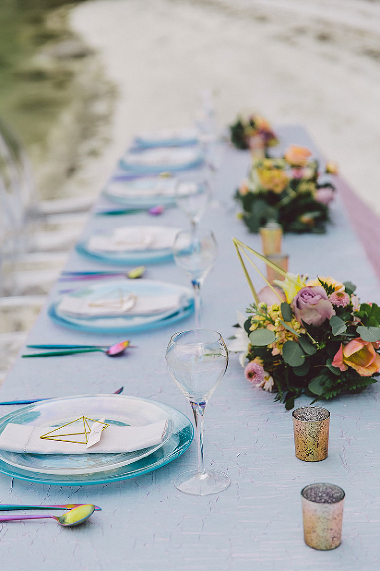Iridescent color theme with new-age geometric design elements for a beach wedding in Victoria BC styled by Party Mood.