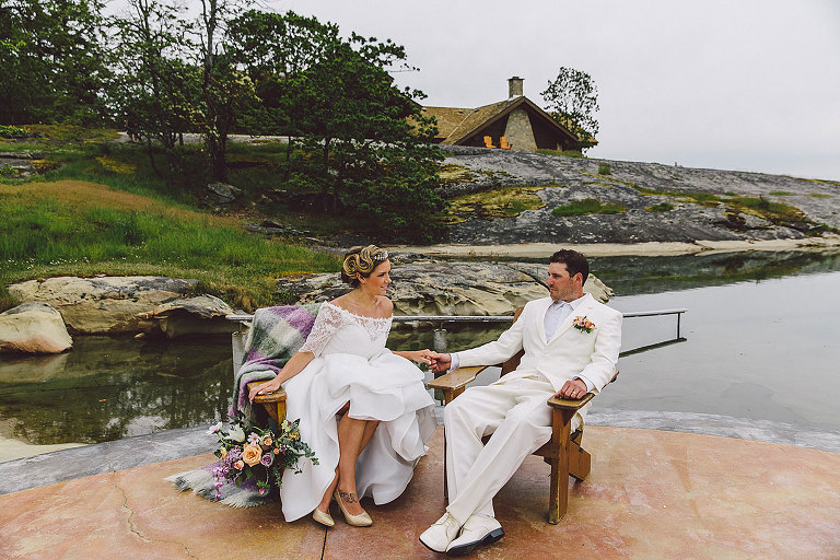 Bride and groom in wedding attire styled for an intimate seaside wedding in Vancouver BC designed by Party Mood.
