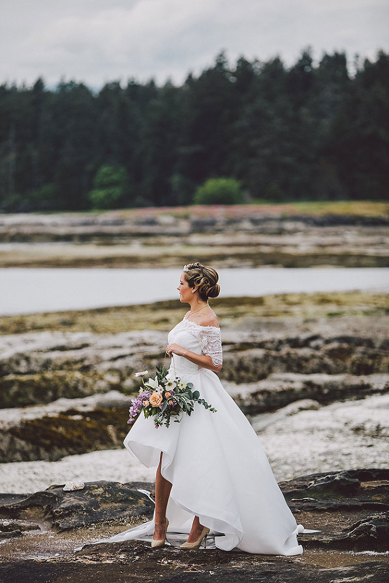 Bride in her bridal gown during a beach wedding in Victoria BC styled by Party Mood.