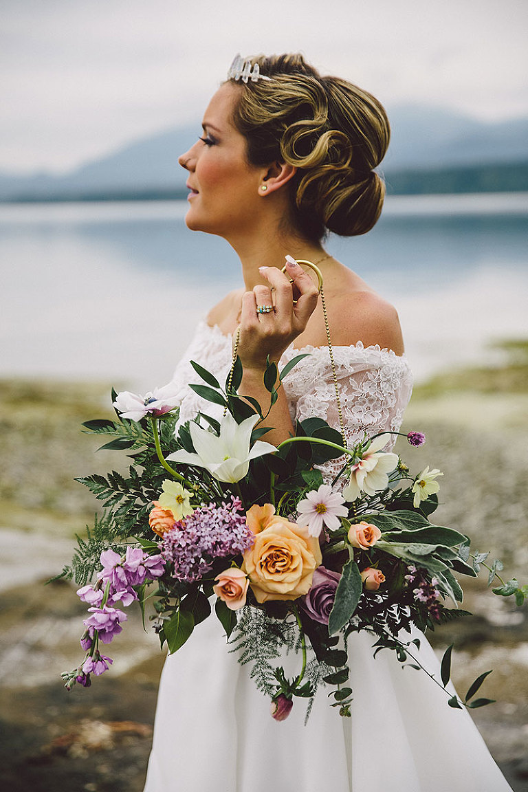 A bridal bouquet designed for a celestial themed modern beach wedding in Victoria BC by wedding planner Party Mood.