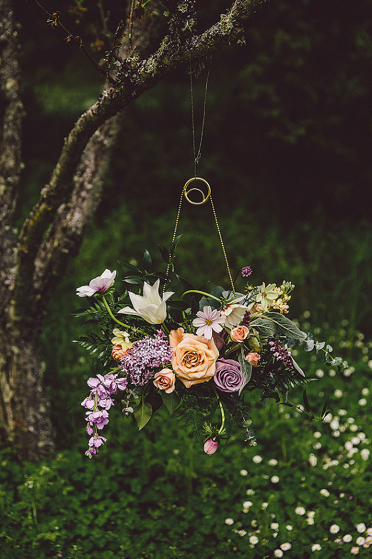 "A hanging ""celestial moon"" themed bridal bouquet for an outdoor seaside wedding in Victoria BC styled by Party Mood."