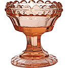 Pink glass chalice tea light votive holder wedding decor rental from Party Mood.