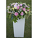 White wood pedestal box for florals from Party Mood wedding decor rentals.
