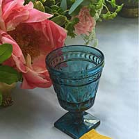 Blue vintage goblet wedding and event rental decor from Party Mood.
