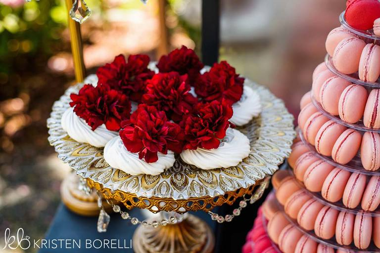 A Rococo style glass cake stand from Party Mood wedding decor rentals for a Marie Antoinette style wedding.