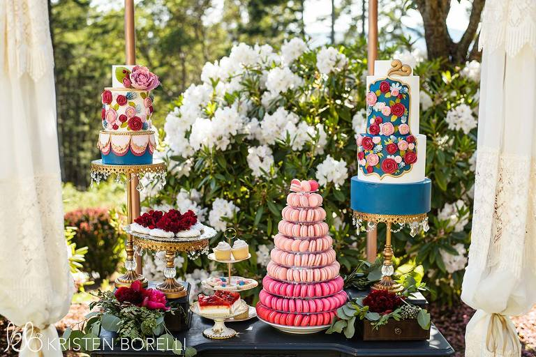 Amazing wedding dessert table for a Marie Antoinette inspired wedding design featuring wedding decor rental items from Party Mood, Victoria BC