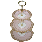 Three Tier Pink and Gold Vintage China Dessert Stand wedding decor rental item.