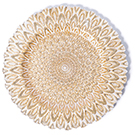 Peacock Motif Glass Charger Plate wedding decor rental item.